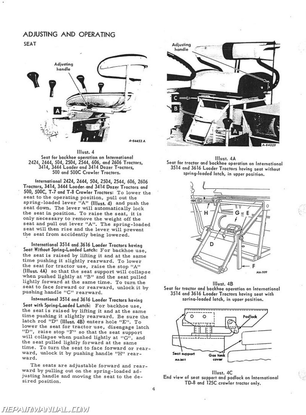 International Harvester Backhoe Attachment Operators Manual