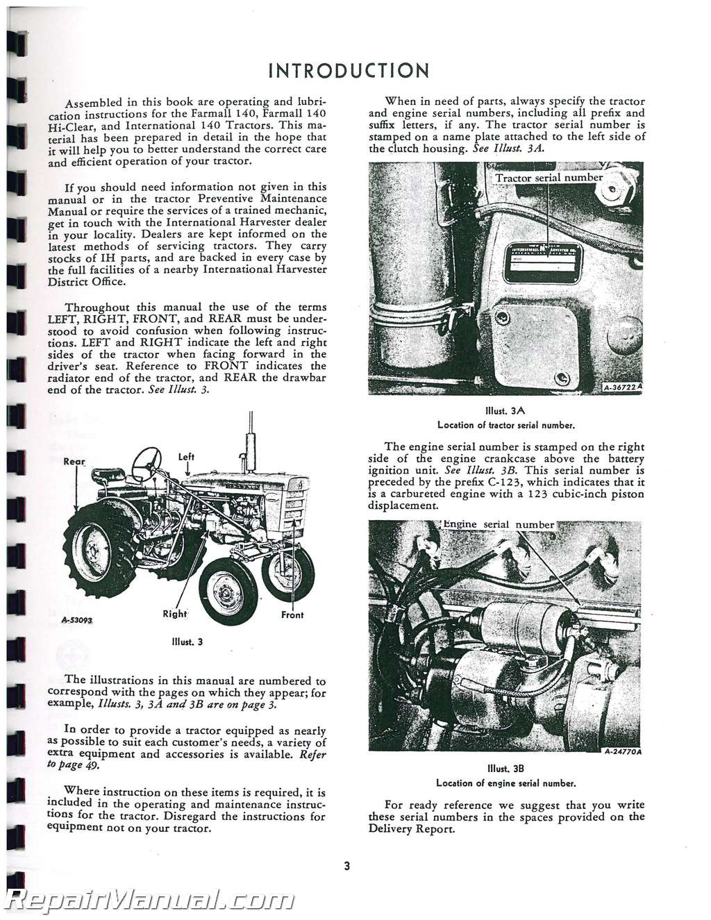International Harvester Farmall 140 Operators Manual : JS