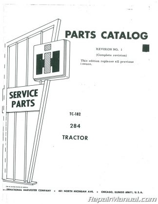 International Harvester Farmall 284 Parts Manual