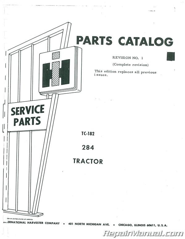 International Harvester Farmall 284 Parts Manual