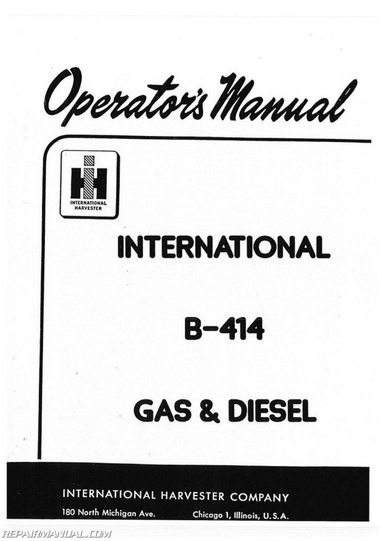 International Harvester Farmall B-414 Tractor Operators Manual