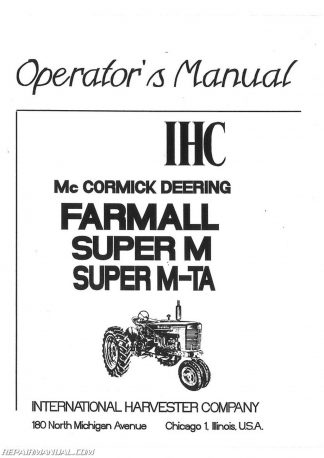 International Harvester Farmall 806 Tractor Operators Manual