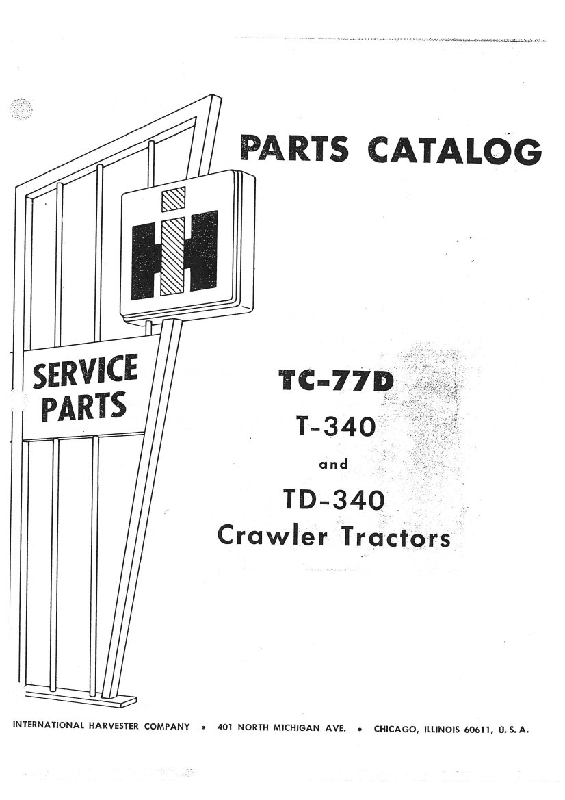 International Harvester T340 TD340 Crawler Tractor Parts