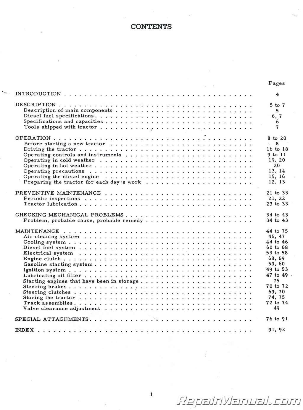 International Harvestor TD9 Operators Manual