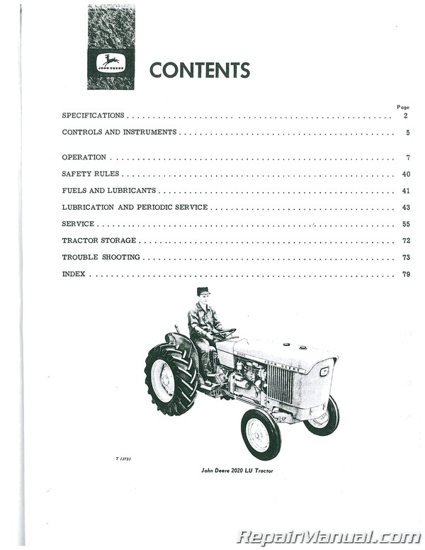 John Deere 1020 and 2020 Gas Diesel Operators Manual
