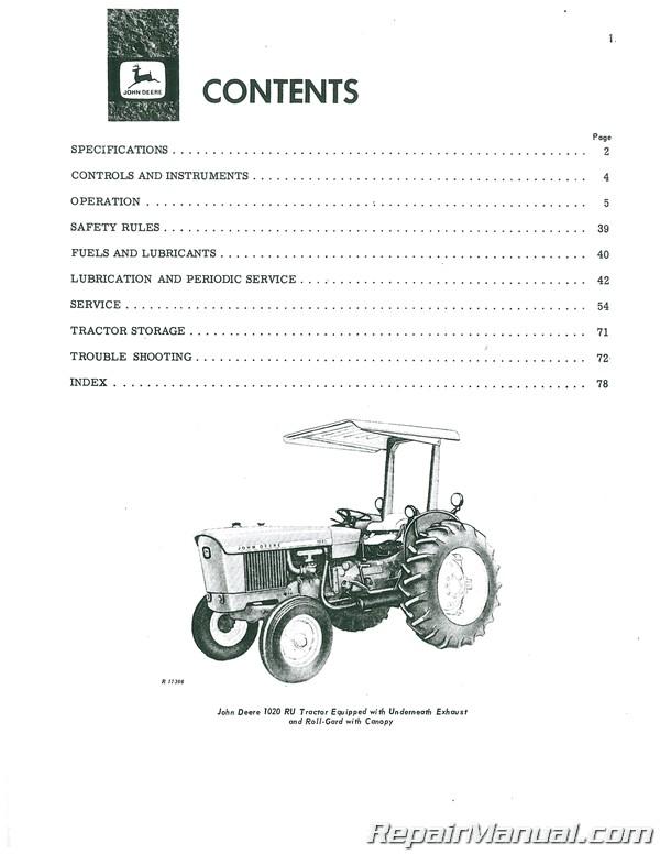 John Deere 1020 and 2020 Tractors Operators Manual