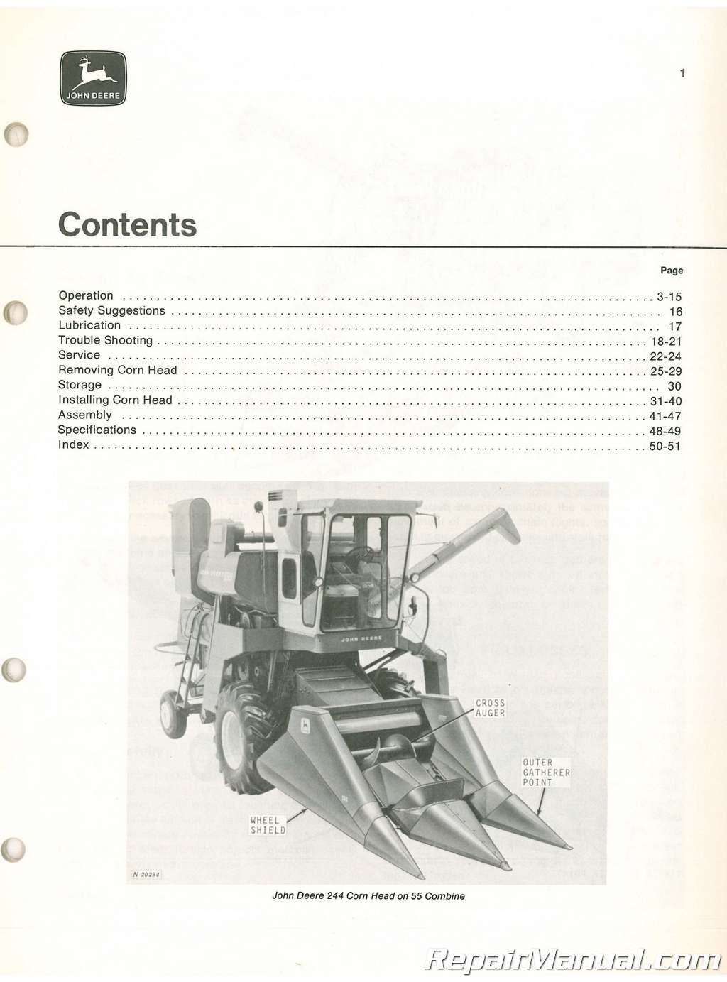 Used John Deere 244 and 343 Corn Heads Operators Manual