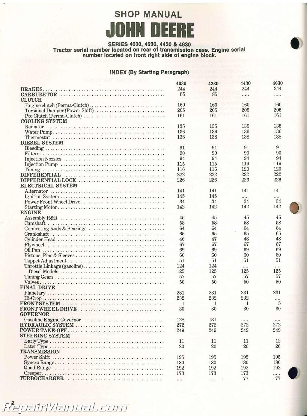 John Deere 4030 4230 4430 4630 Tractor Workshop Manual_003 john deere 4430 wiring diagram,John Deere 4430 Wiring Diagram For Starter