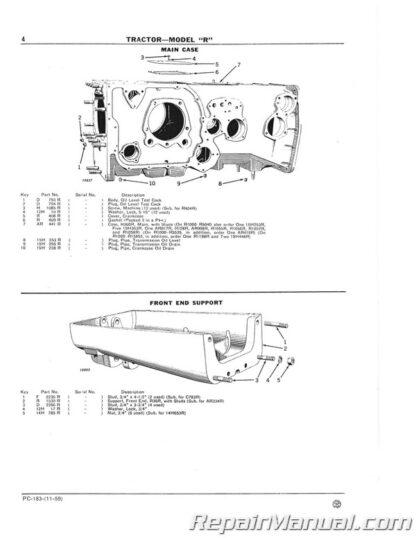 John Deere Model R Tractor Parts Manual
