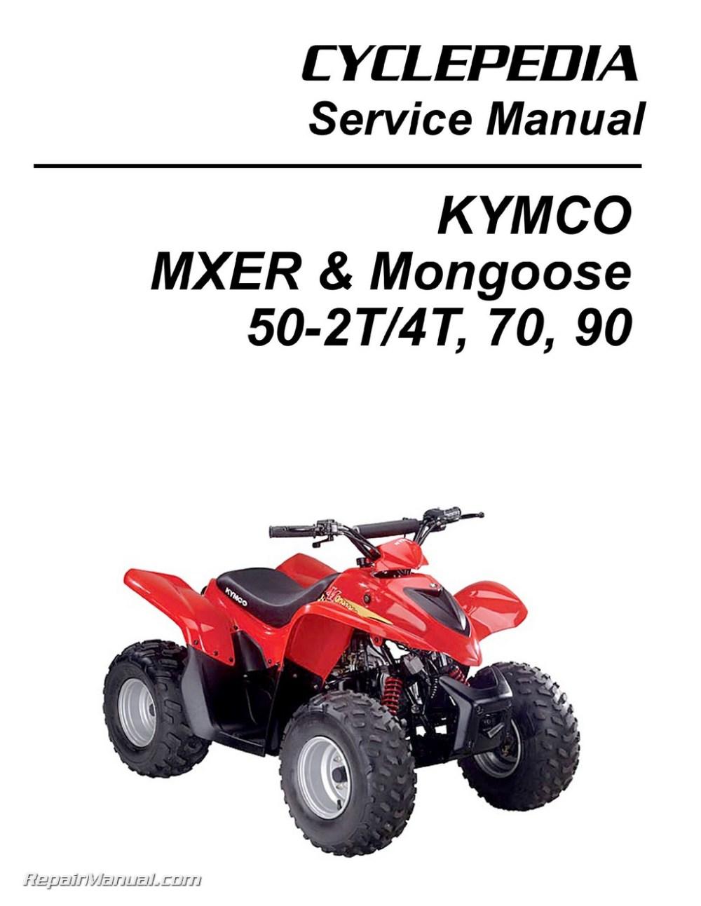 medium resolution of kymco mxer mongoose 50 2t 50 4t 70 90cc atv printed service manual chinese 110cc atv wiring diagram atv repair diagram