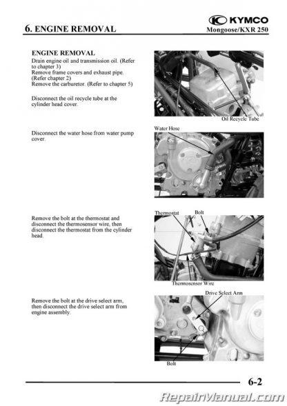 KYMCO Mongoose 250 ATV Service Manual Printed by Cyclepedia