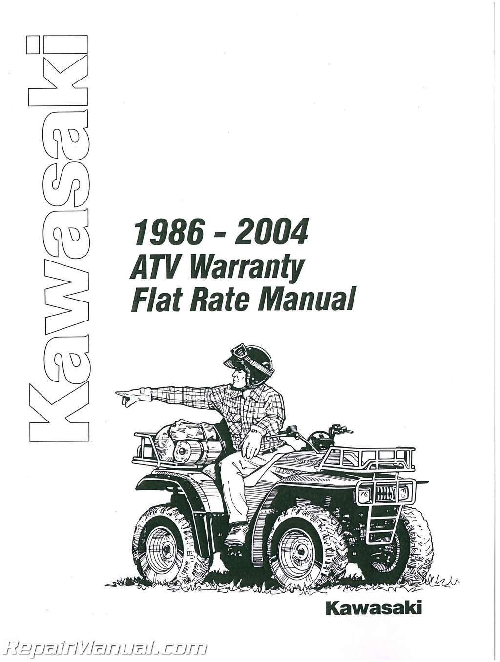 Kawasaki ATV Warranty Flat Rate Manual 1986-2004