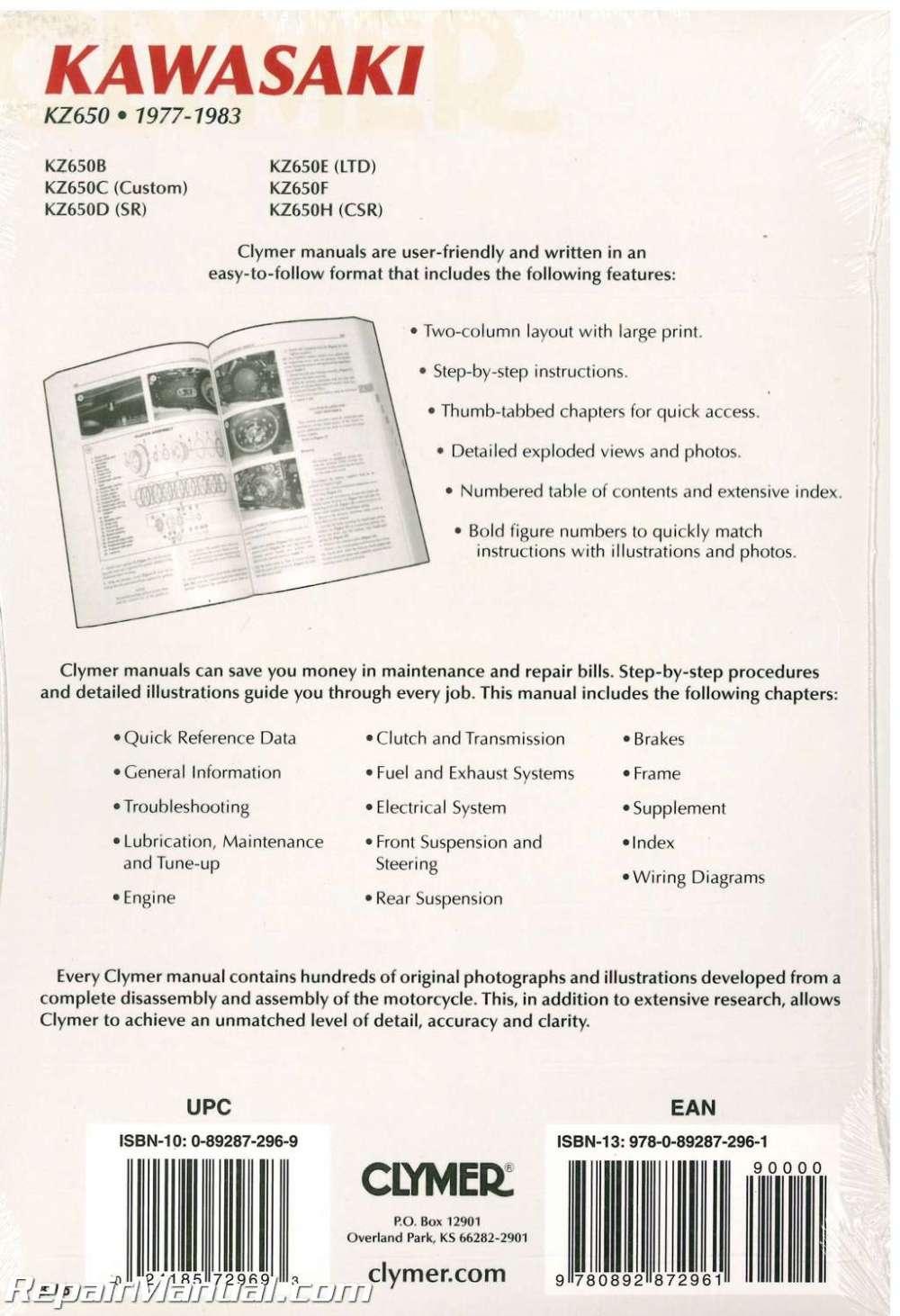 medium resolution of kawasaki kz650 1977 1983 clymer motorcycle repair manual 002