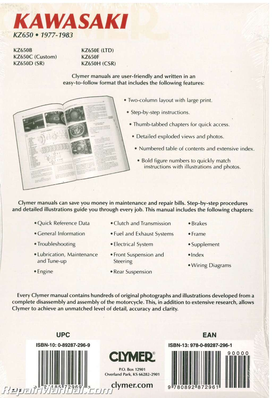 hight resolution of kawasaki kz650 1977 1983 clymer motorcycle repair manual 002