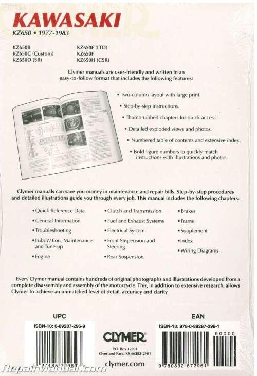 small resolution of kawasaki kz650 1977 1983 clymer motorcycle repair manual 002