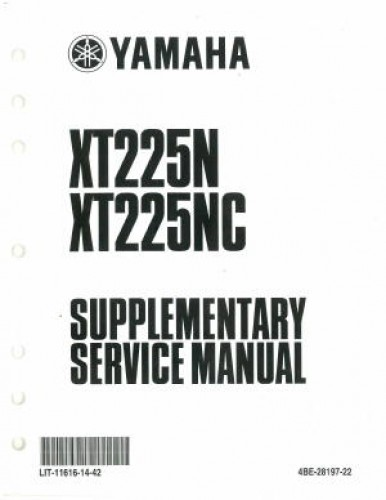 Used 2001 Yamaha XT225N NC Service Manual Supplement