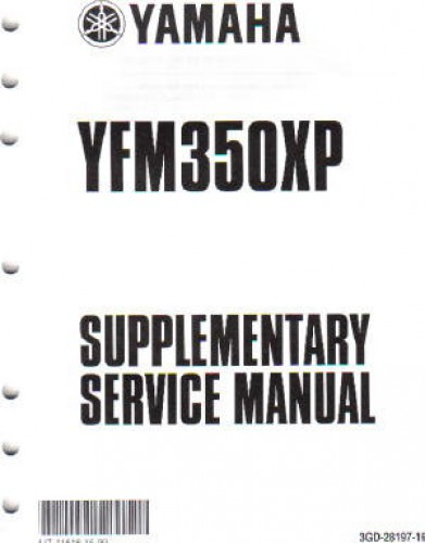 2004 Yamaha YFM350XS Warrior Manual Supplement