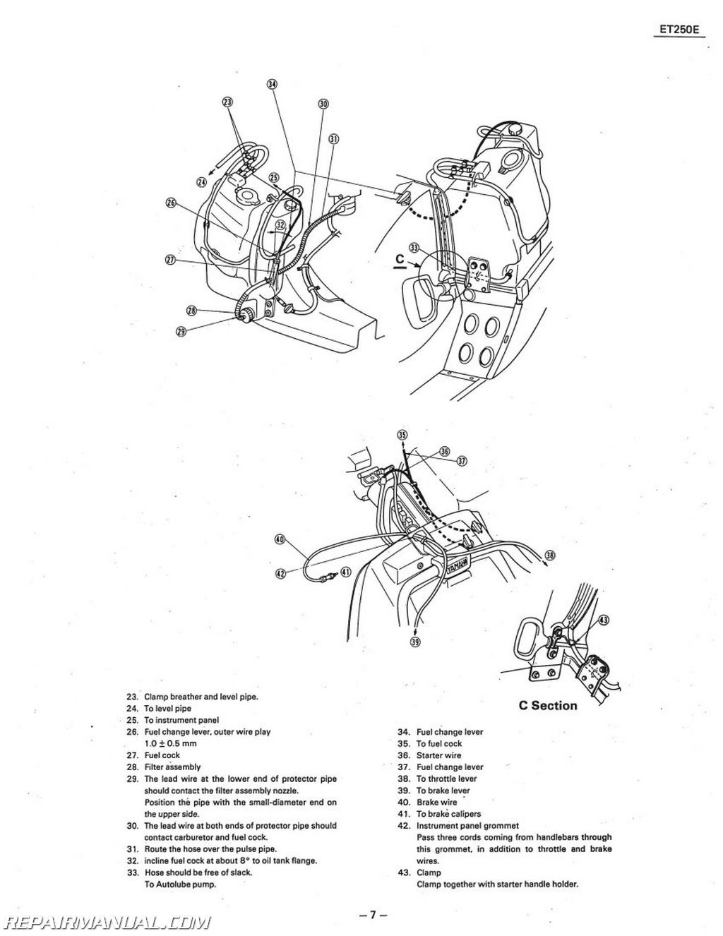hight resolution of 1978 1981 yamaha enticer et250 snowmobile service manual rh repairmanual com yamaha timberwolf 250 wiring diagram