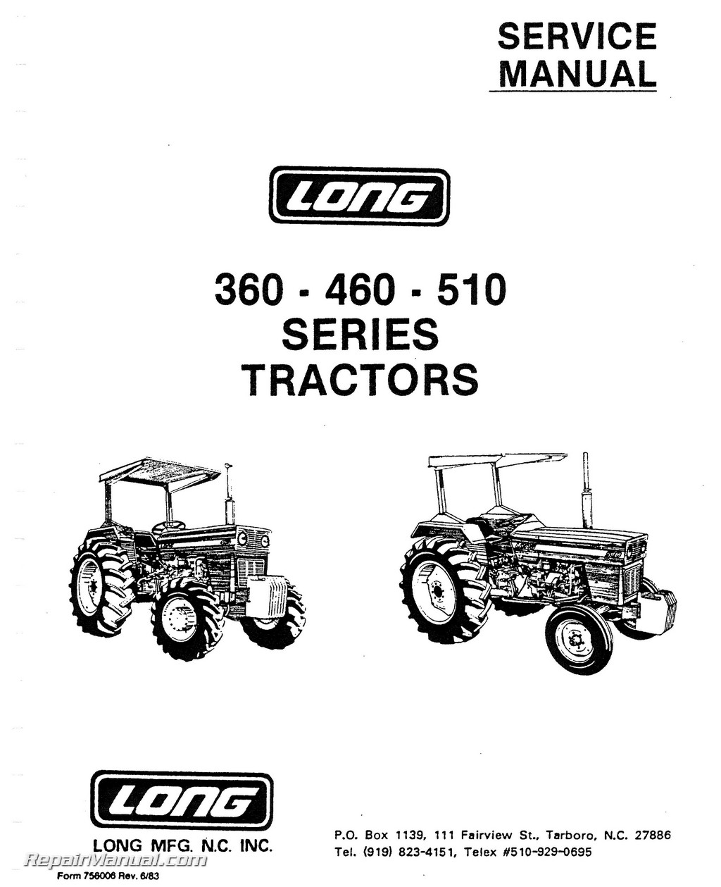 Long 360 460 510 Series Tractor Service Manual