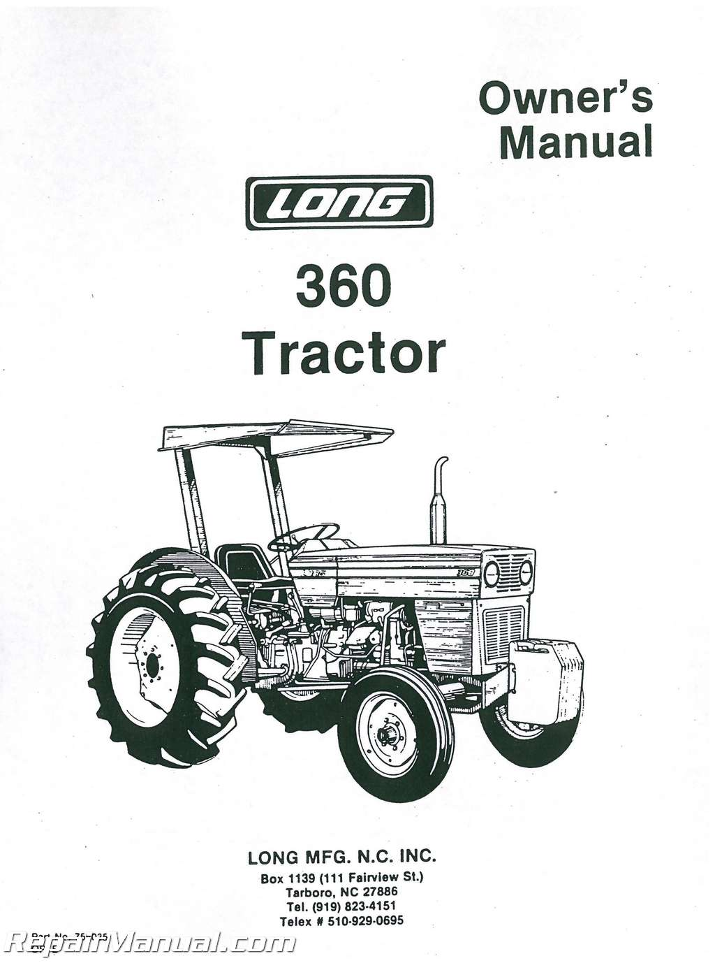 Long 360sel Tractor Operators Manual