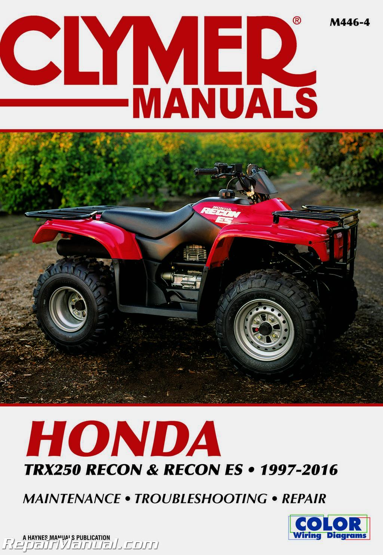 hight resolution of 1997 2016 honda trx250 recon es atv repair manual by clymer wiring diagram for honda recon atv