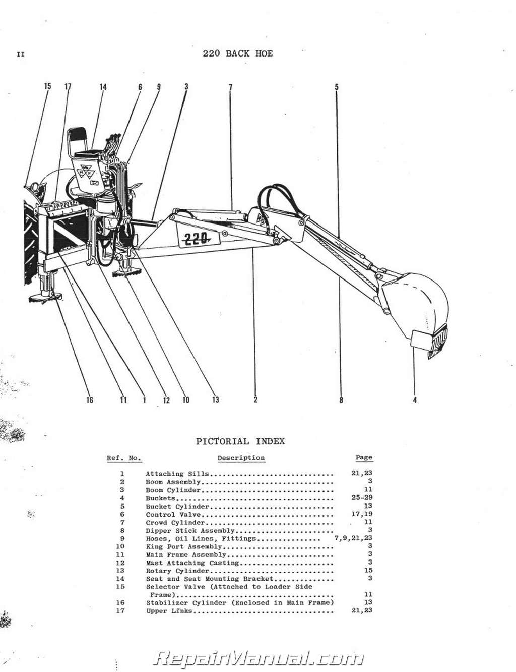 Massey Ferguson MF 220 Industrial Backhoe Parts Manual