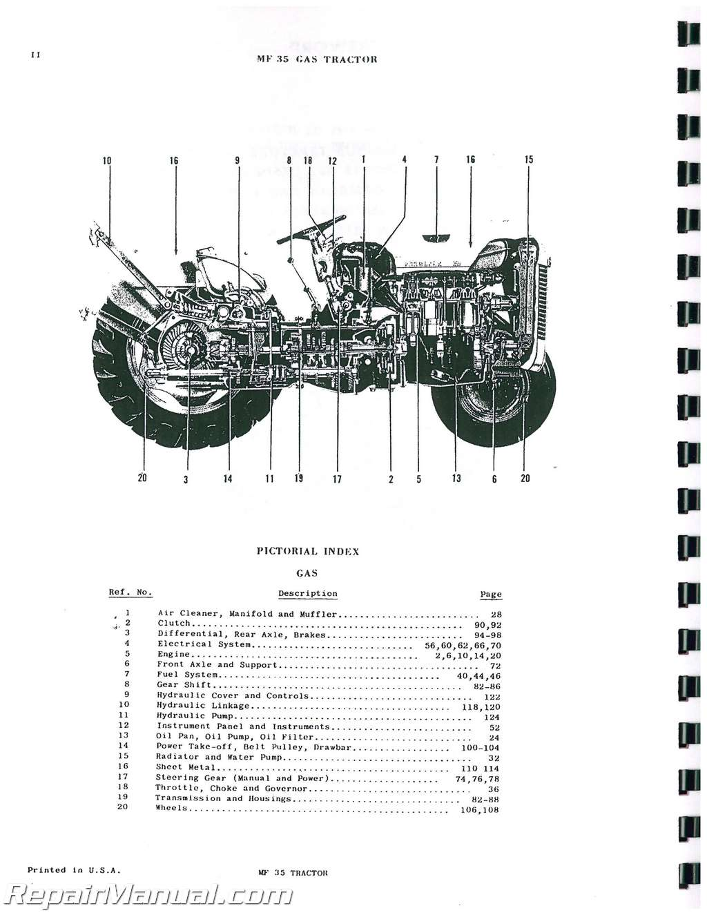 Massey Ferguson MF 35 Gas Diesel Tractor Parts Manual : JS
