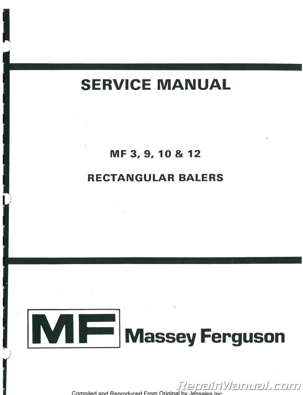 Massey Ferguson MF10 Haybaler Service Manual