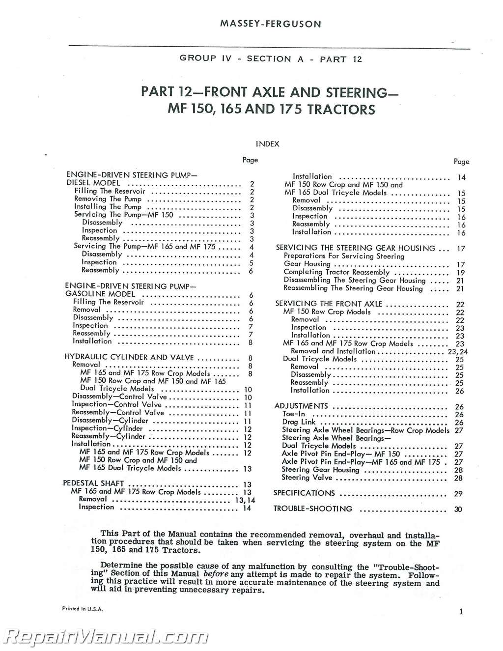massey ferguson 175 parts diagram wiring for car stereo toyota mf150 mf165 mf175 mf180 tractor service manual