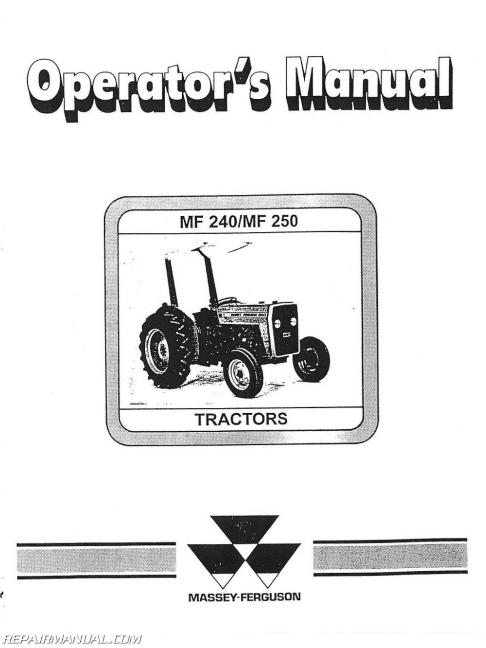 medium resolution of massey ferguson mf240 and 250 operators manual rh repairmanual com massey ferguson starter wiring diagram massey