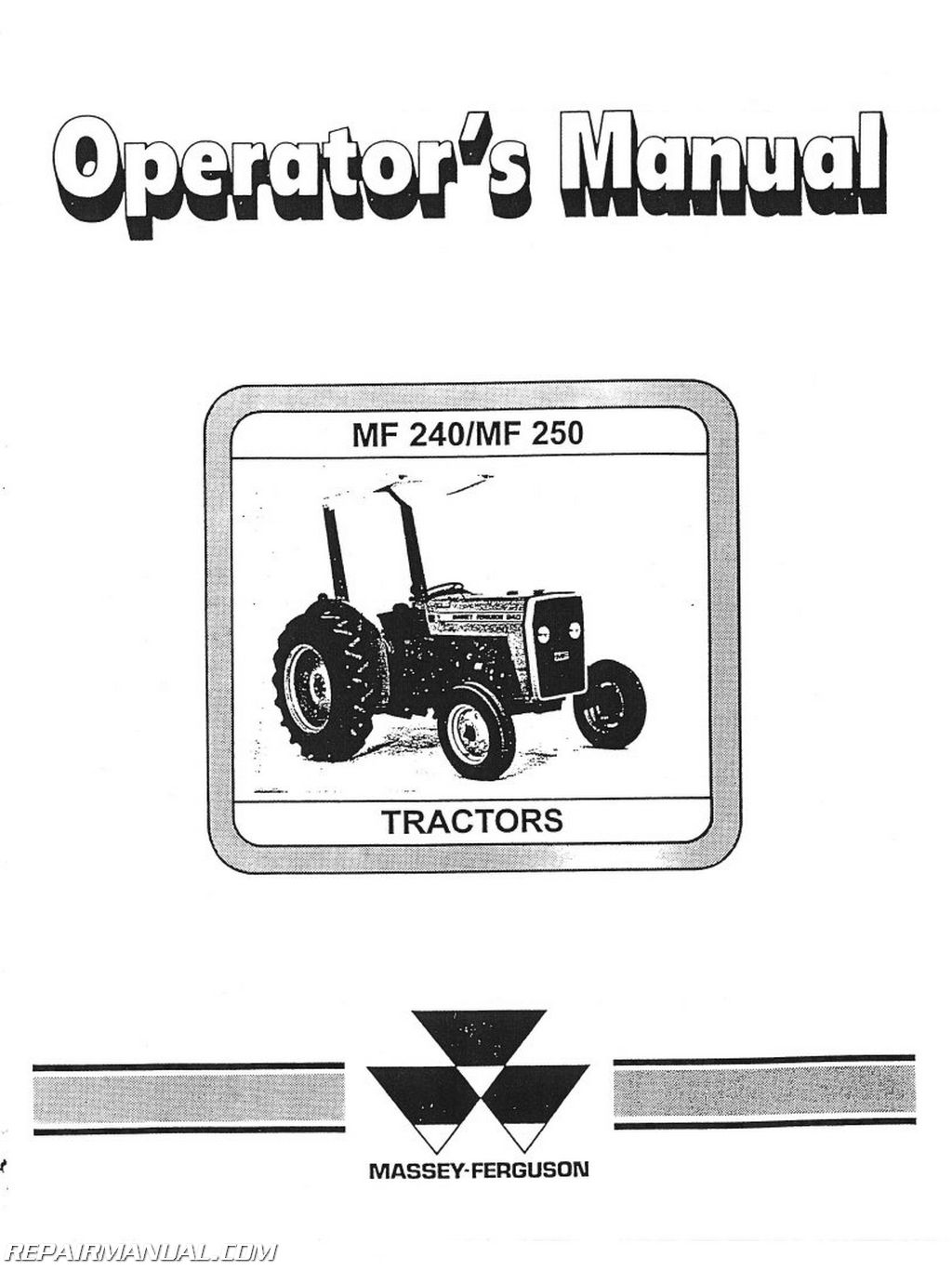 hight resolution of massey ferguson mf240 and 250 operators manual rh repairmanual com massey ferguson starter wiring diagram massey