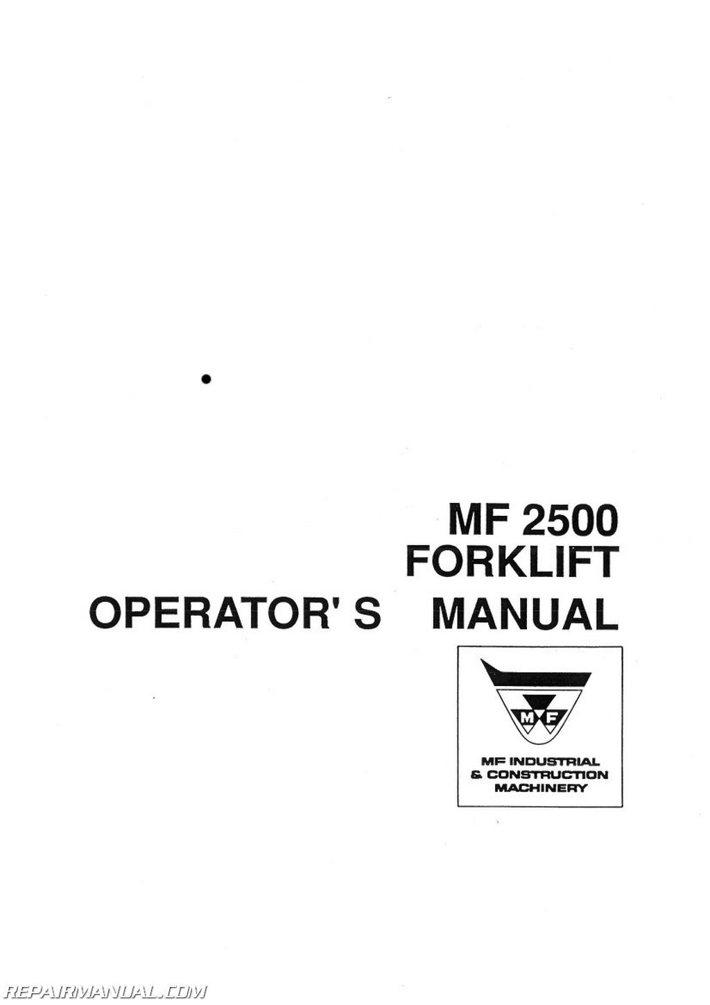 Massey Ferguson MF2500 Fork Lift Operators Manual