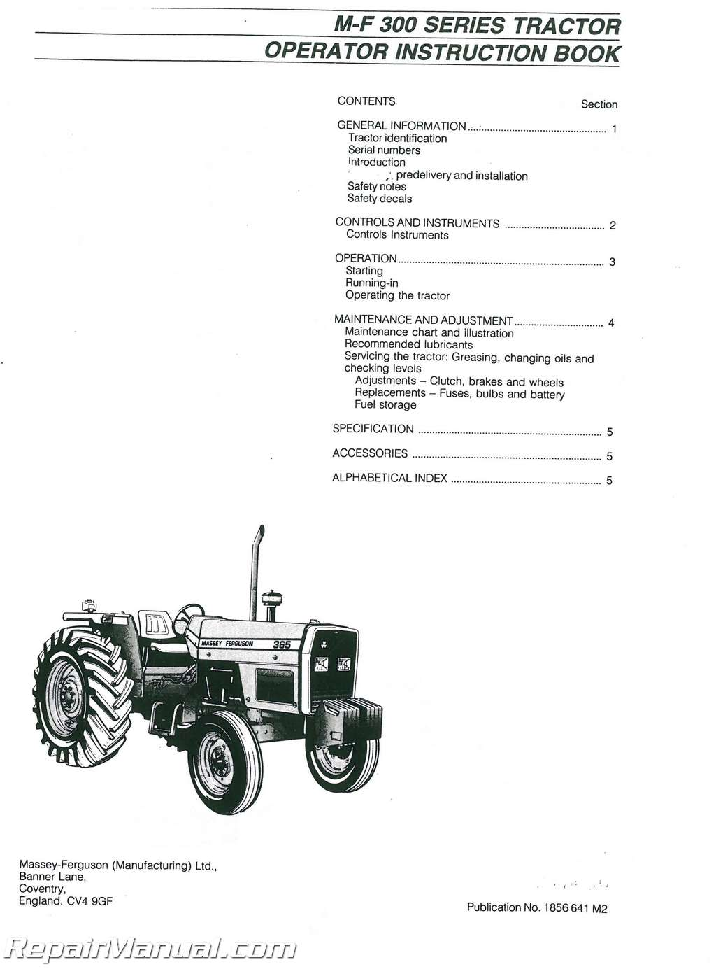 Massey Ferguson MF350-MF399 Dsl Tractor Operators Manual