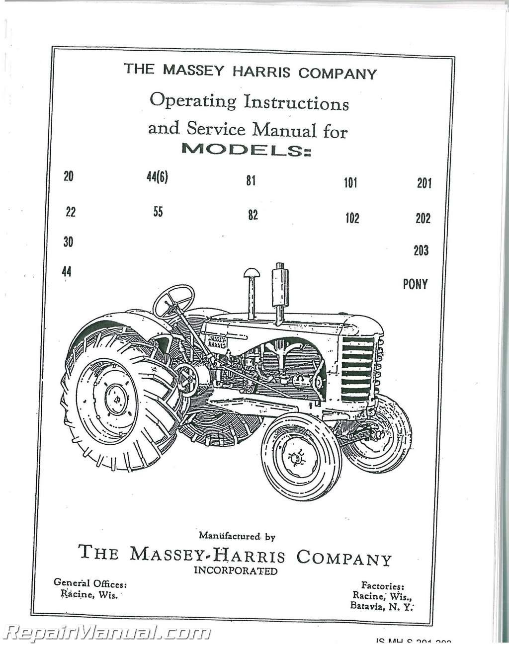 Massey Harris Tractor Service Manual