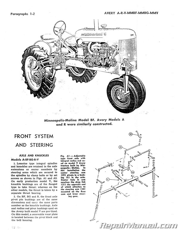 Minneapolis Moline BF BG V Service Manual