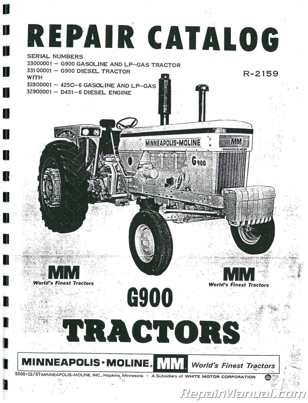 Minneapolis Moline MPLS MOLINE-G-900 Parts Manual