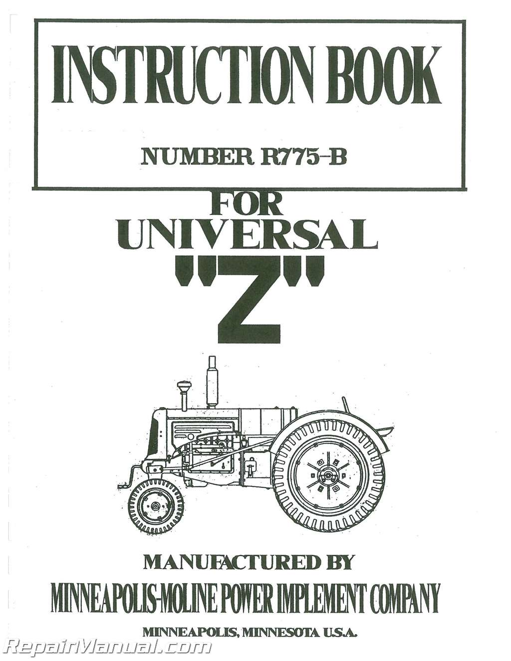 Minneapolis Moline Universal Z 1938 to 1948 Service Manual