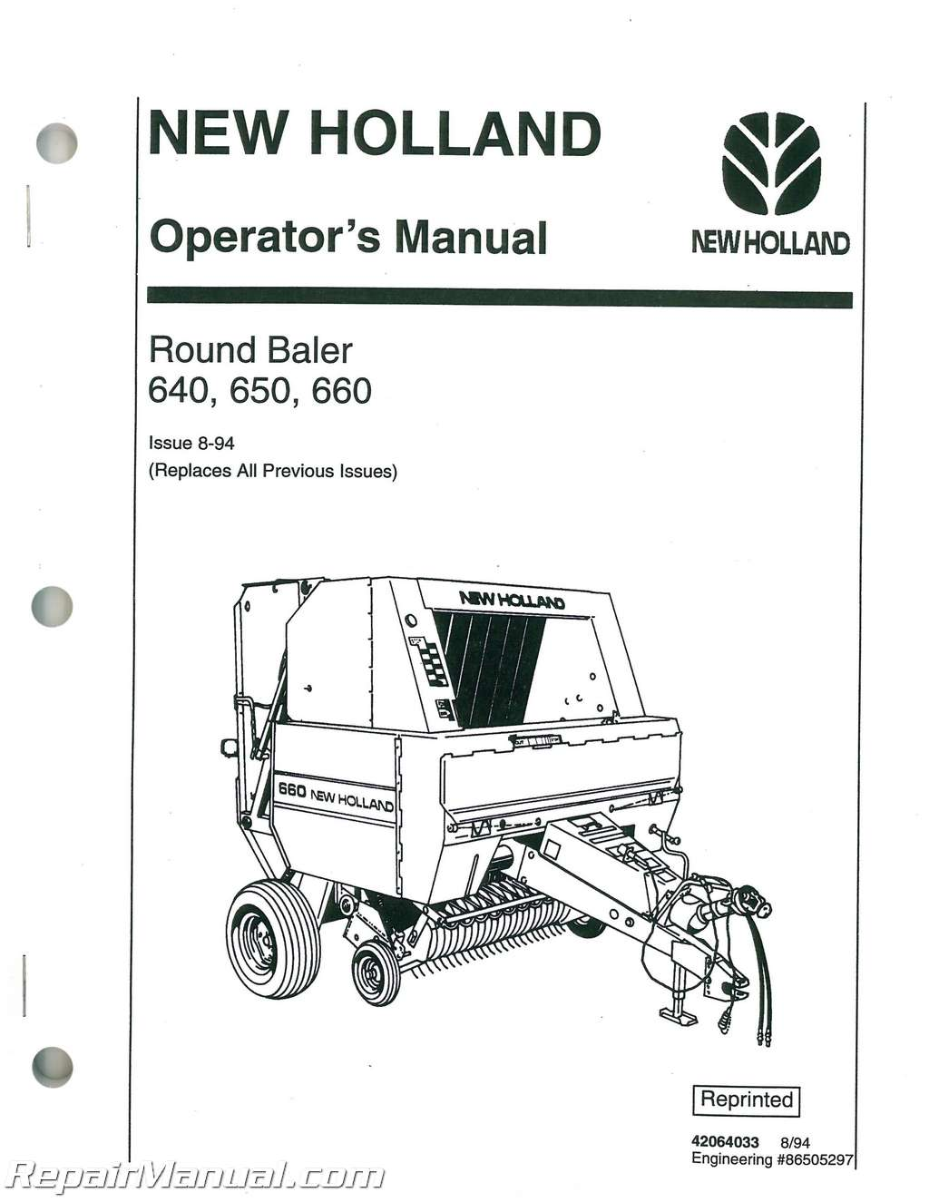 New Holland 640 650 660 Large Round Baler Operators Manual