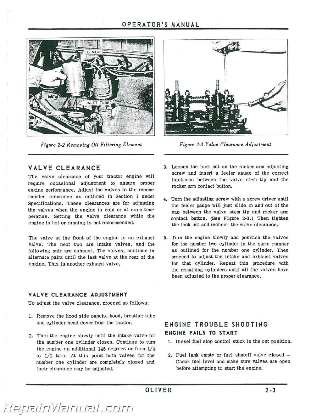 Oliver Model 770 and 880 Operators Manual