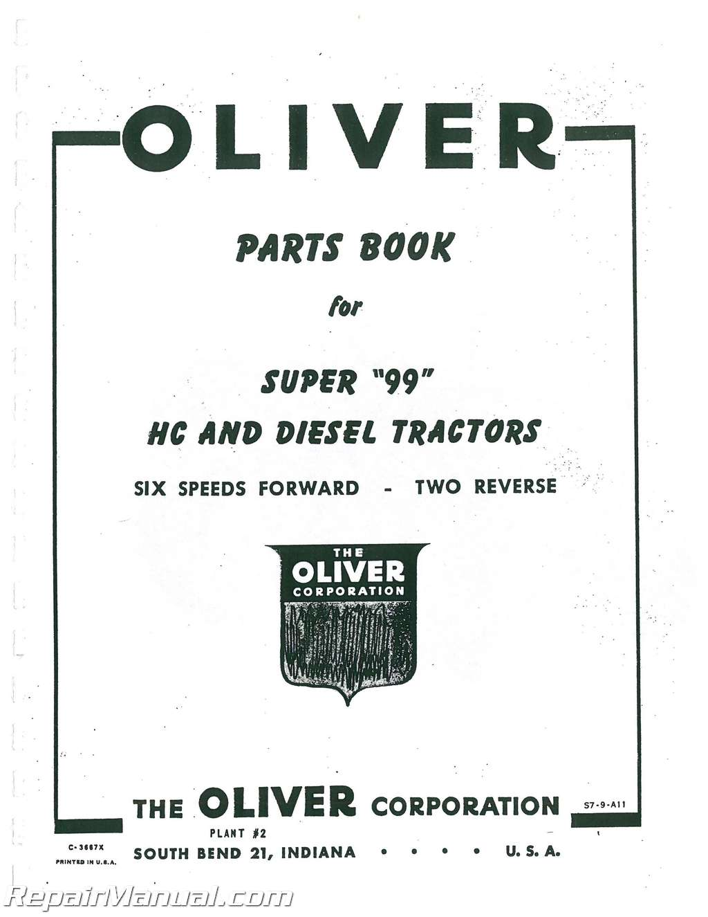 Oliver Super 99 Parts Manual