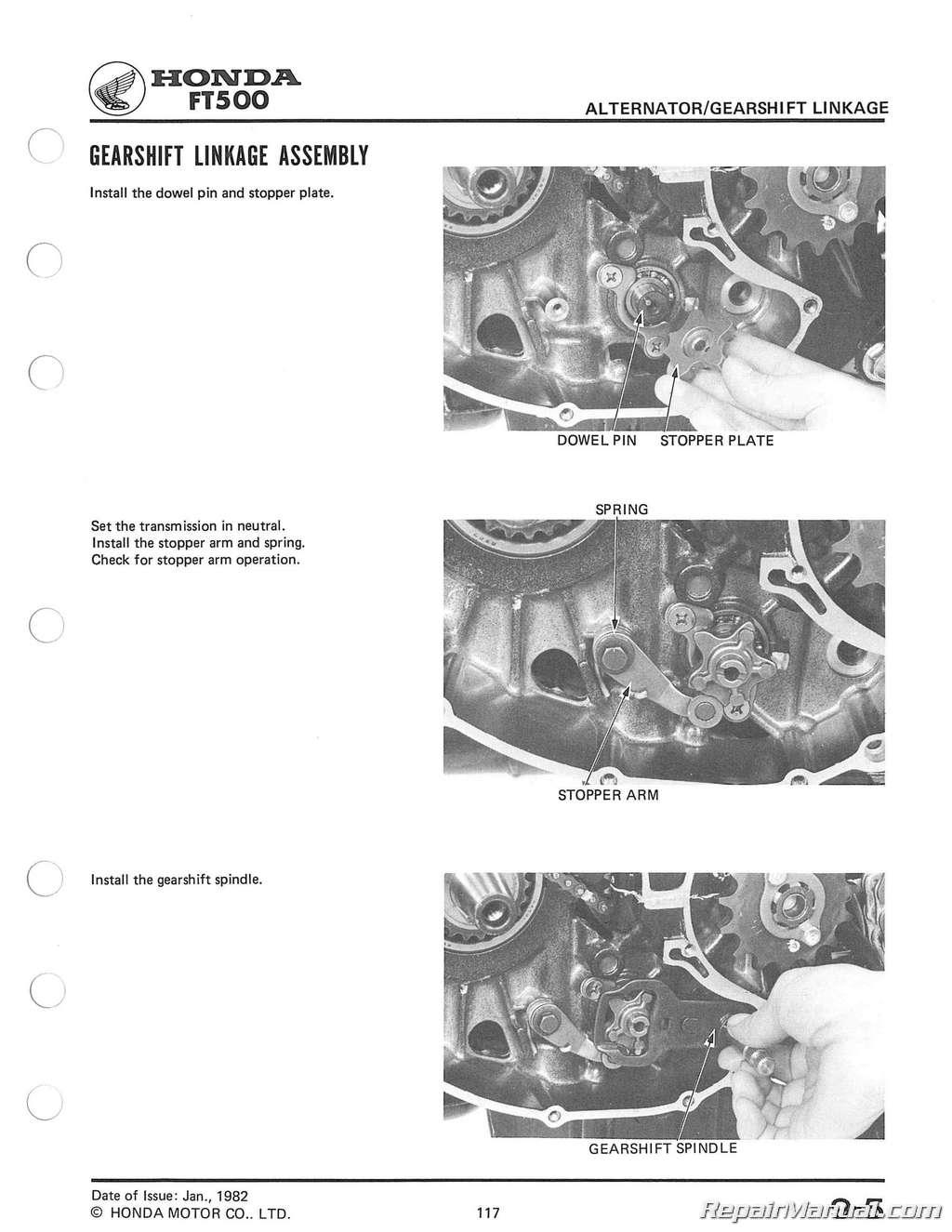 Honda Ft500 Ascot Motorcycle Service Manual