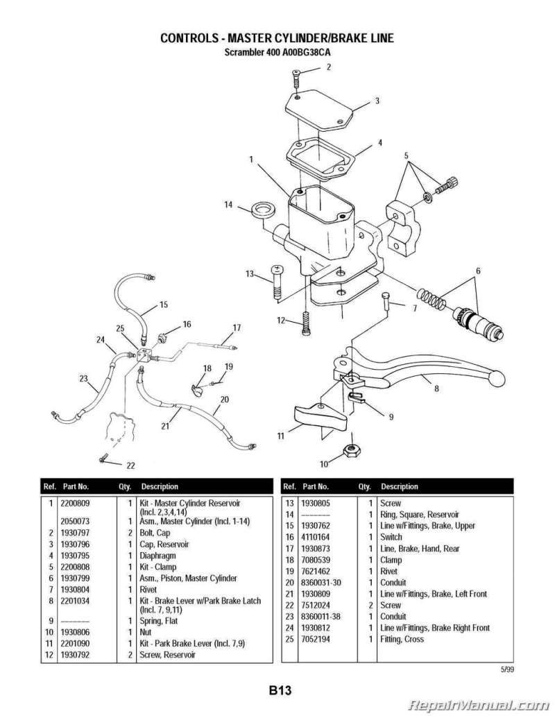 2000 Polaris Scrambler 400 4 Atv Parts Manual