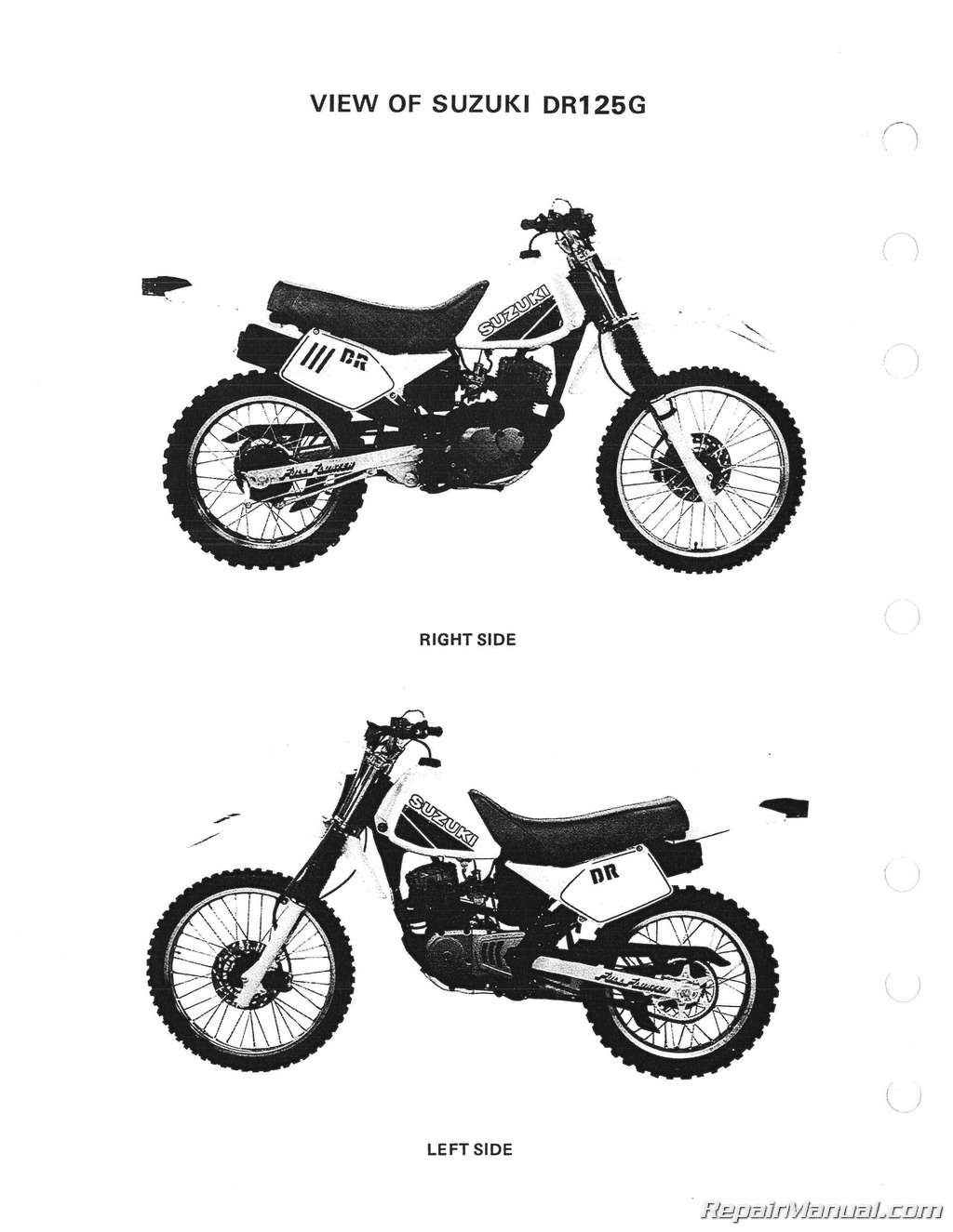 1986 1987 1988 Suzuki DR125 SP125 Motorcycle Service Manual