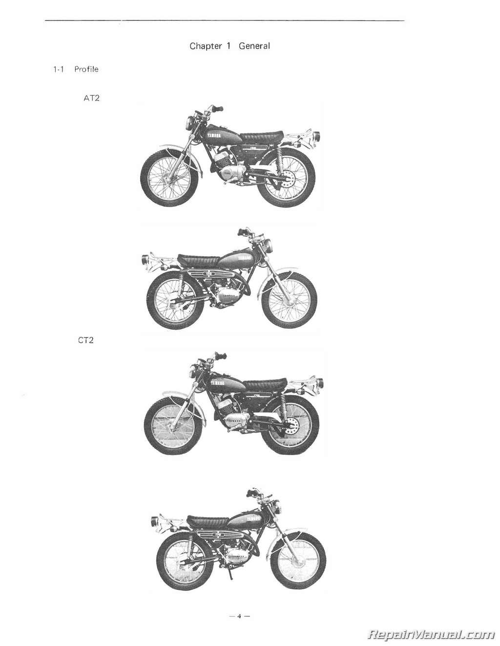 1972 Yamaha 125AT2 175CT2 Motorcycle Service Manual