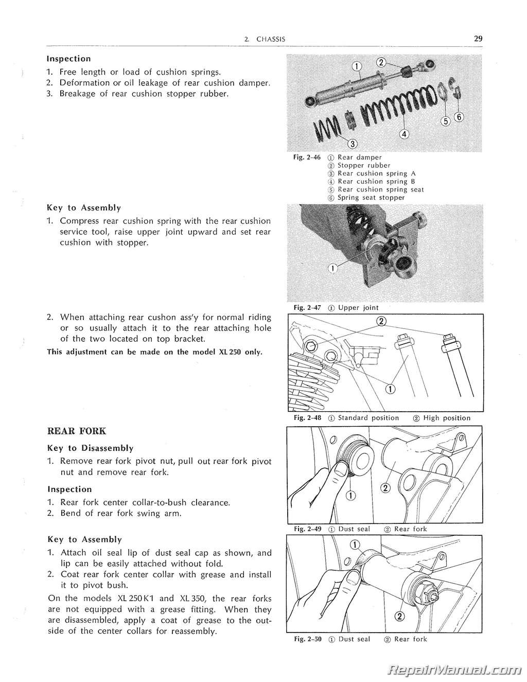 Honda XL250 XL350 Service Manual 1972