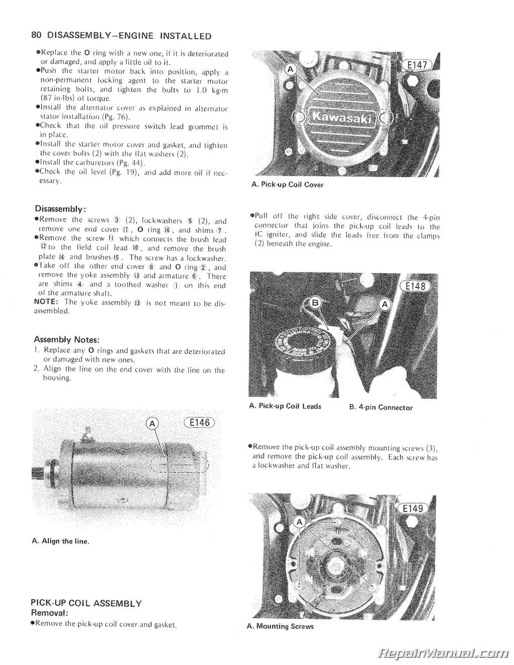1979-1980 Kawasaki KZ1000E Motorcycle Service Repair Manual