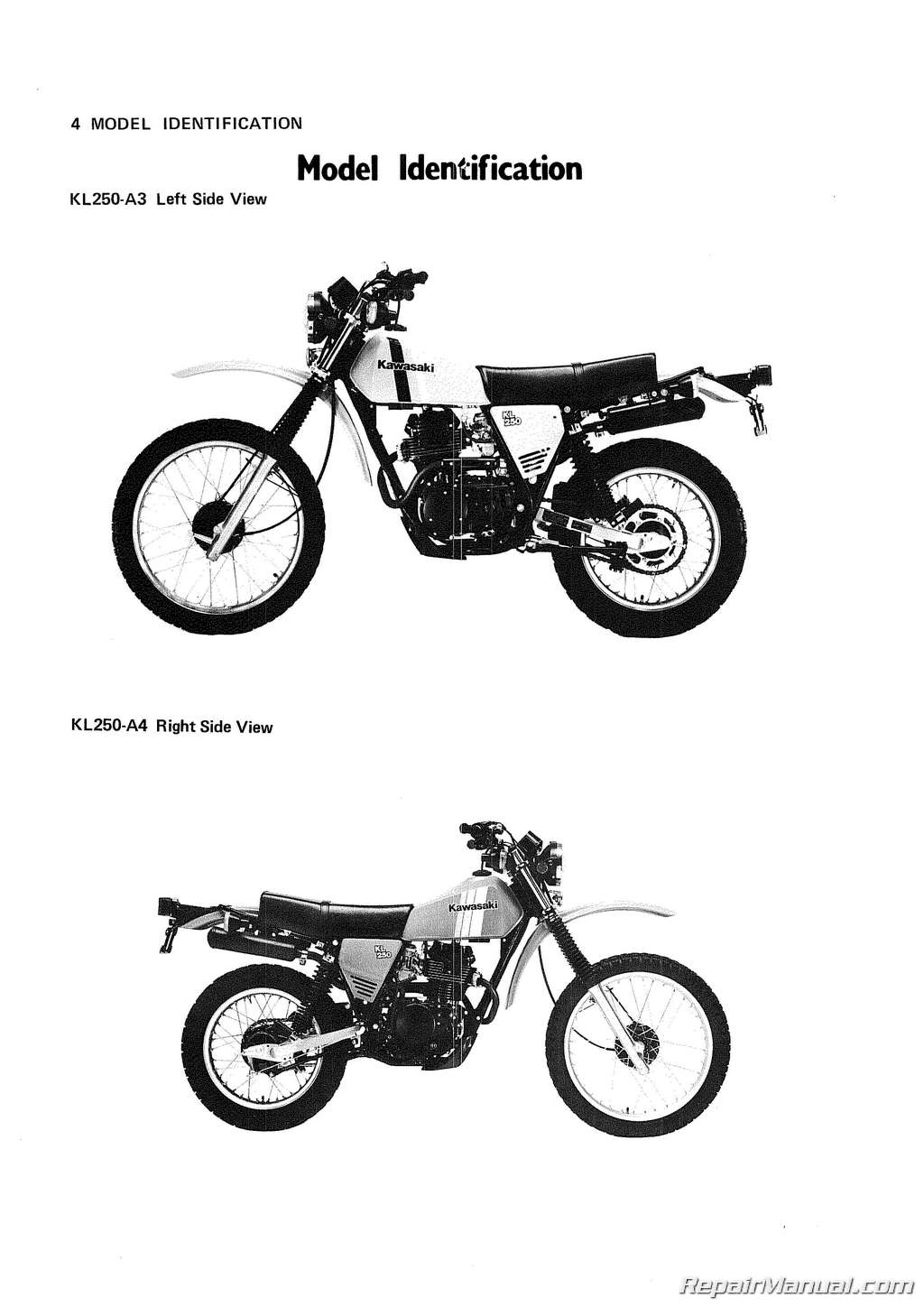 1980-1983 Kawasaki KL250 Motorcycle Service Manual