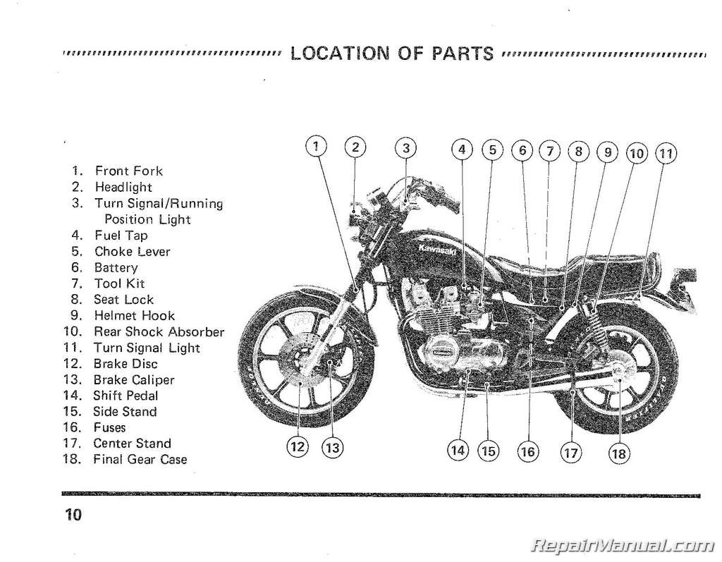 1983 Kawasaki KZ750F1 LTD Shaft Drive Motorcycle Owners Manual