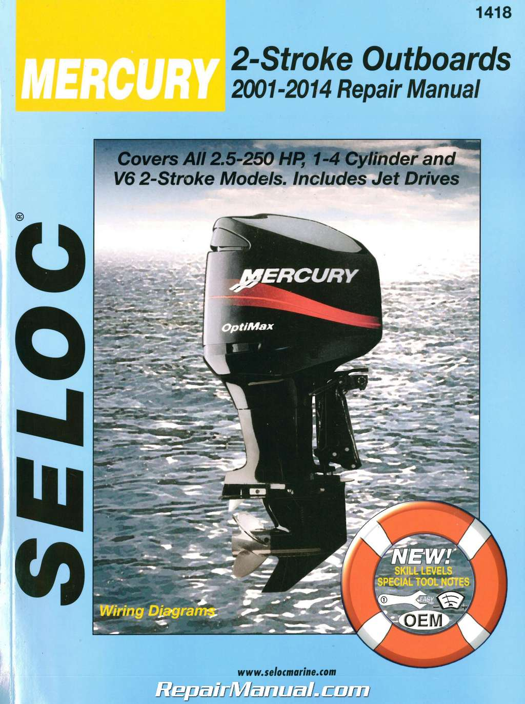 hight resolution of seloc 2001 2014 mercury mariner outboards 2 stroke 2 5 250 hp boat engine repair manual