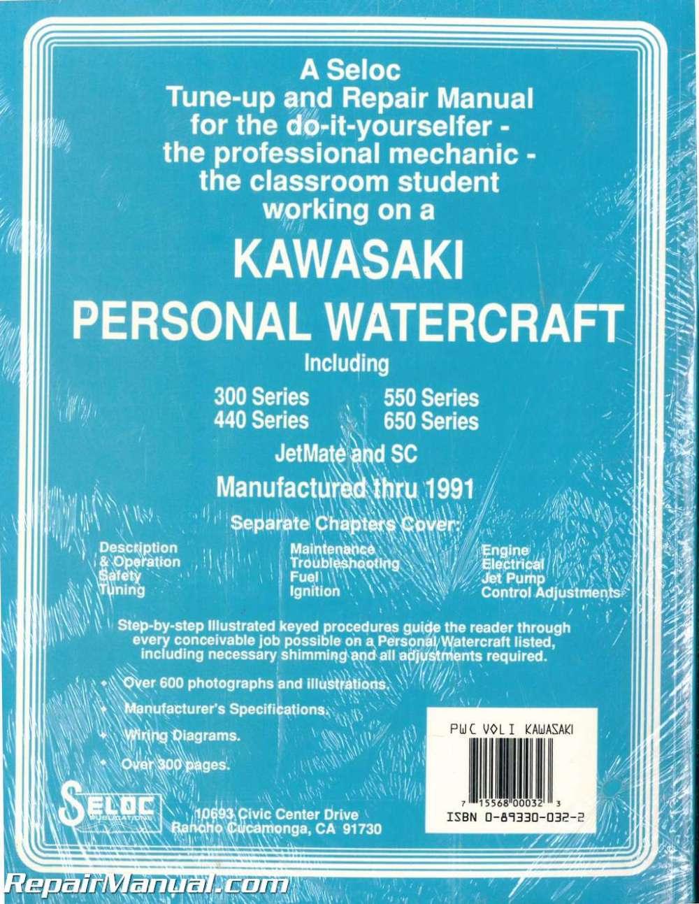 medium resolution of  array seloc kawasaki personal watercraft 1973 1991 repair manual vol l rh repairmanual com
